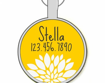 Chrysanthemum Floral Silver Custom Personalized Dog ID Pet Tag Custom Pet Tag You Choose Tag Size & Colors