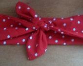 Womens Bandana Head Band, Hair scarf, PolkaDots RED, Cotton head scarf, Self tie bandana, Pinup head scarf, RockaBilly HairBand, #620