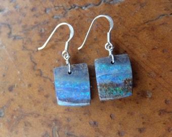 Boulder Opal jewelry - blue precious Opal earrings - handmade in Australia by NaturesArtMelbourne