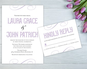 Elegant Script Wedding Invitation, Purple Invitation, Modern Wedding Invitation Set