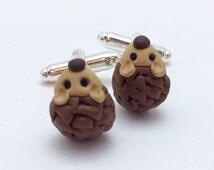 Hedgehog Cufflinks, Brown Polymer Clay, Men's Animal Jewelry