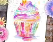 Homemade with Love CUPCAKE  - PRINT baking art, kitchen art, cupcake art, bakery art, frosting, baker, homemade, sweets, treats, cake