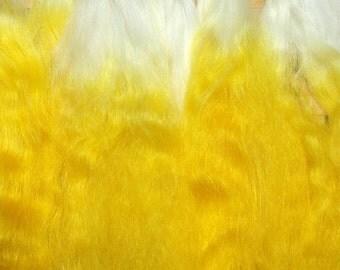 Combed Suri Alpaca Doll Hair half of an ounce 7-9 inch long White Yellow