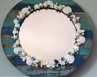 Beach Decor Mirror, Nautical Decor Mirror, Shell Mirror, Seashell Mirror, Shell Mirror, Nautical Mirror, Coastal Decor, Beach House Decor