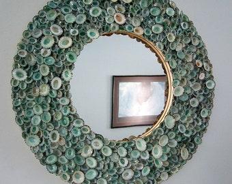 Seashell Wall Mirror, Beach Decor Seashell Mirror, Nautical Decor Limpet Shell Mirror, Beach House Decor, Coastal Decor Mirror,  #RDLM100