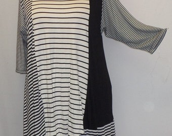 Plus Size Top, Asymmetric Tunic Top, Women Tunic, Coco and Juan, Multi Stripe #5 Knit Size 1 (fits 1X,2X)  Bust 50 inches