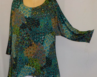 Plus Size Top, Coco and Juan, Lagenlook, Plus Size Tunic, Teal,  Peacock Print Knit Drape Side Tunic Top One Size Bust  to 60 inches