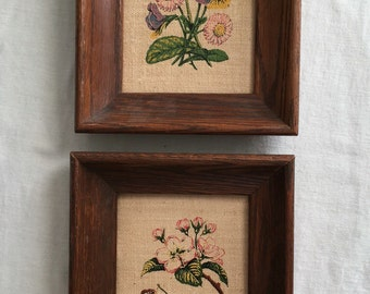 Pair of vintage framed linen pictures / vintage wooden framed floral fruit portraits