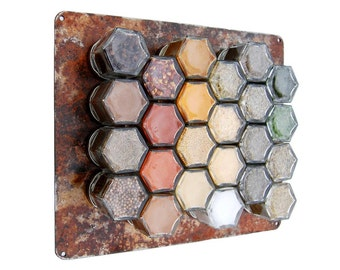 Rustic Hanging Magnetic Spice Rack:  Includes 24 Organic Seasonings (1/4 cup) and Rusted Wall Plate. Unique Holiday Gift for Foodie.