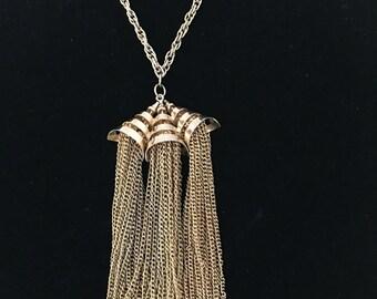 Vintage Chunky Mesh Chandelier Tassel Necklace 1970s