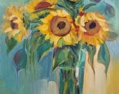 Original Oil Painting, contemporary flowers, floral art, sunflowers painting, oil on panel, yellow flowers, 11x14 inch