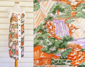 1970s Scenic Waterfall Countryside Mill Novelty Print Summer Dress w/ Buttons (Sz L)