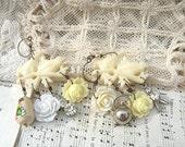 snowbird earrings assemblage bird vanilla rose mismatch white charm