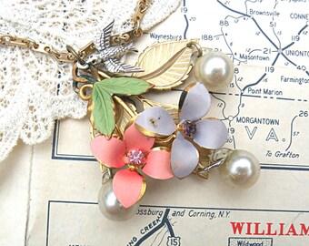 flower necklace assemblage floral pendant cottage chic