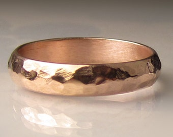 Men's Gold Wedding Band, 4.5mm recycled 14k Rose Gold Ring, Men's Hammered Wedding Band