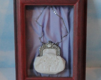 Victorian White Silk Embroidery Coin Purse Framed in Shadow Box