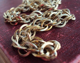 Vintage Link Chain Necklace Textured Links Antique Gold Chunky Statement Chain Mod Modernist 1960s 60s Costume Jewelry