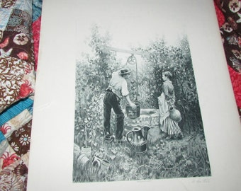 Anitque 1880's Picture Photogravure Print AT The WELL Ridgway Knight