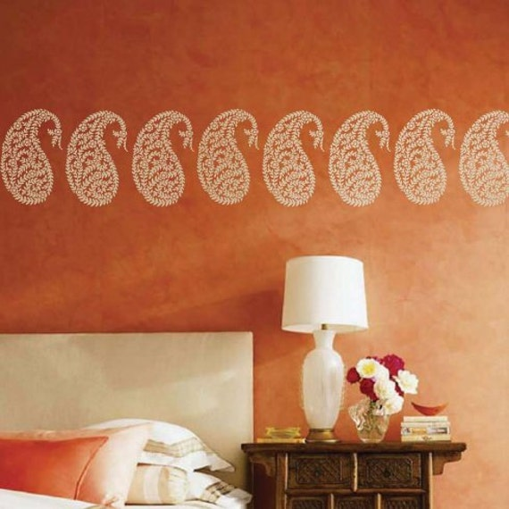 Jaipur paisley wall art stencil small diy wall art for Wallpaper for home walls jaipur