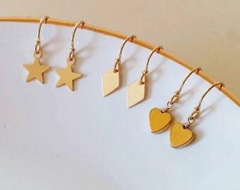 SET of 3 EARRINGS ! Dainty gold star, heart, and rhombus (diamond) earrings. Sale. Geometric. Minimalist. Everyday. Gift. Boho chic. Special