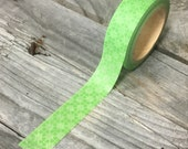 Washi Tape - 15mm - White Geometric Pattern on Green - Deco Paper Tape No. 931