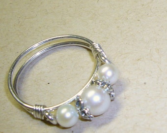 Purity Ring, Pearl Band, Sterling Silver, Sweet Sixteen Gift