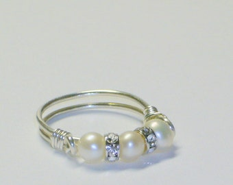 Pearl Band, Purity Ring,Sterling Silver, Swarovski Crystal Rondelles
