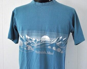 Distressed faded Vintage Tshirt Hawaii Haleakala Maui Blue Double Wraparound Sided Sunset Nautical Ocean Beach Graphic LARGE
