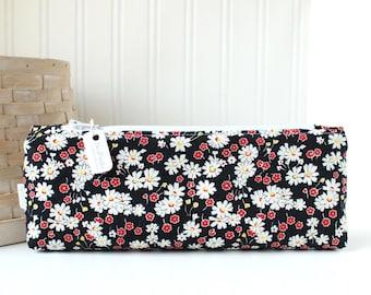 Floral Pencil Pouch Floral Pencil Case Black and White Floral Purse Organizer