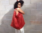 Desert Red Cotton Canvas Oversized Bag