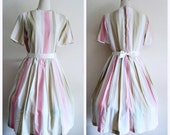 RESERVED - Vintage 1950's Dress // Short Sleeve Pastel Striped Pleated Dress //  Full Skirt