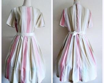 Vintage 1950's Dress // Short Sleeve Pastel Striped Pleated Dress //  Full Skirt