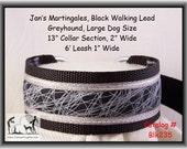 Jan's Martingales, Black Walking Lead, Collar and Lead Combination, Greyhound, Large Dog Size, Blk235