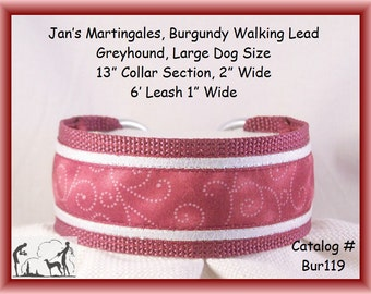 Large Dog Size Martingale Collar and Leash Combination Walking Lead, Burgundy, Greyhound, Bur119