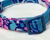 Lilly Pulitzer Fabric Cat Collar Boy Girl Purple Pink Blue Sea Jewels