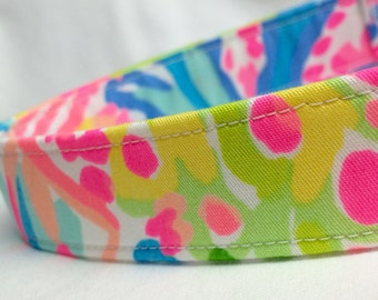 Lilly Pulitzer Fabric Dog Collar Multi Lovers Coral for Girl Boy