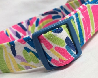 Lilly Pulitzer Fabric Dog Collar Girl Boy Pink Multi Palm Reader