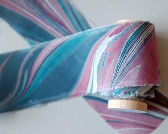 Marbled Silk Ribbon in Jewel Tones