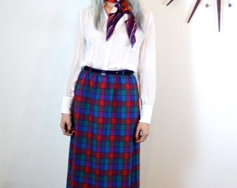 SALE 50% OFF Vintage 60s Plaid Wool Skirt High Waisted Straight Fitted Blue Red Green Checker Tweed Below the Knee Original Leather Belt 196