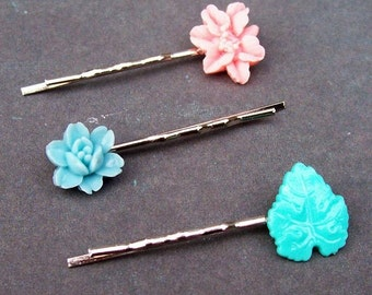 Helena Bobby Pin Set Hair Grips Vintage Leaf Flower Filigree Pastel Pink Blue Green Floral Botanical Girls Women dspdavey Accessories