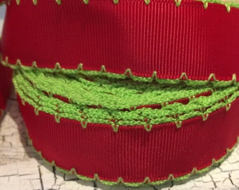 """3 YARDS 7/8"""" Christmas Red and Lime Green Grinch Moonstitch Grosgrain ribbon"""