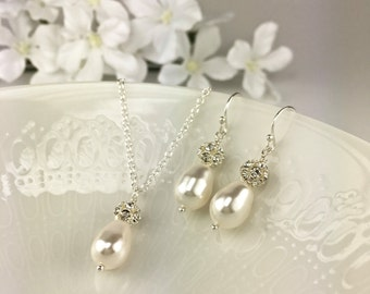 Pearl Bridesmaid Jewelry Set White Pearl Bridesmaid Jewelry Pearl and Crystal
