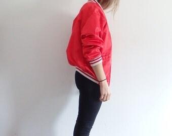Bomber Jacket Vintage Satin Striped Cuff Red