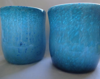 Hand blown glass cups, two tumblers, pair of drinking glasses, blue turquoise white