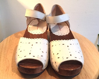 White Mary Jane Clogs // Leather with Wood Sole // euro 38