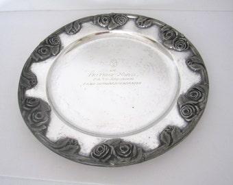 Vintage Scandinavian Trophy Plate, Engraved Floral Detail Silverplate