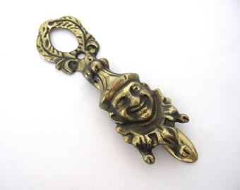 Antique Jester Door Knocker, Brass Circus Clown, Gothic Door Knocker