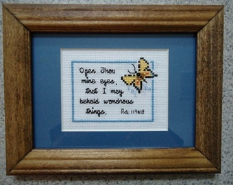 Open Thou Mine Eyes - Inspirational Cross Stitch Picture - Wall Decor