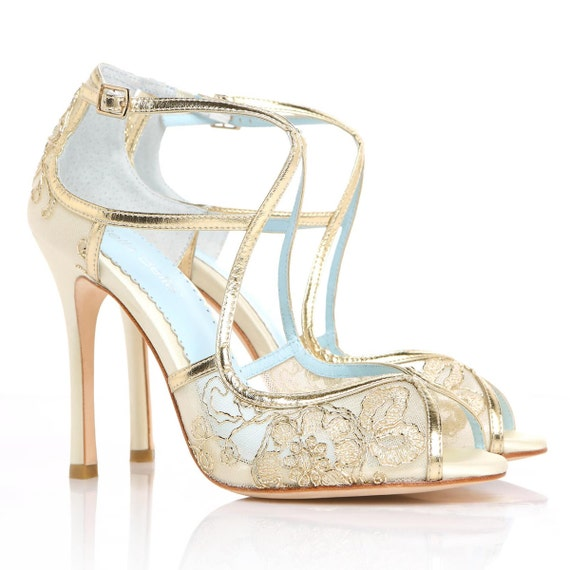 Wedding Shoes Gold Embroidered Lace And Ivory Silk Criss Cross