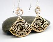 Tribal Earrings, Gold Fan Earrings, Ethnic Earrings, Gold and Black Earrings, Mixed Metal Earrings, Geometric Earrings, Earring Gift